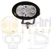 Durite Oval 2-LED 1000lm Work Flood Light 10-60V - 0-420-60