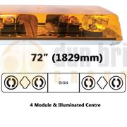 ECCO 626.3A02.AAAB 60 Series 1829mm AMBER 4 Module ROTATOR Lightbar with Illuminated Centre R65 24V