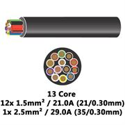 DBG 13 Core Thinwall PVC Automotive Cable 12x 21/0.30 1.5mm² 21.0A / 1x 35/0.30 2.5mm² 29.0A