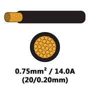 DBG Single Core Thin Wall PVC Auto Cable 0.75mm² (14.0A) - Black