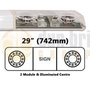 ECCO 60-00425-V 60 Series HALO 742mm AMBER/CLEAR 2 Module LED Lightbar with Illuminated Centre R65 12V